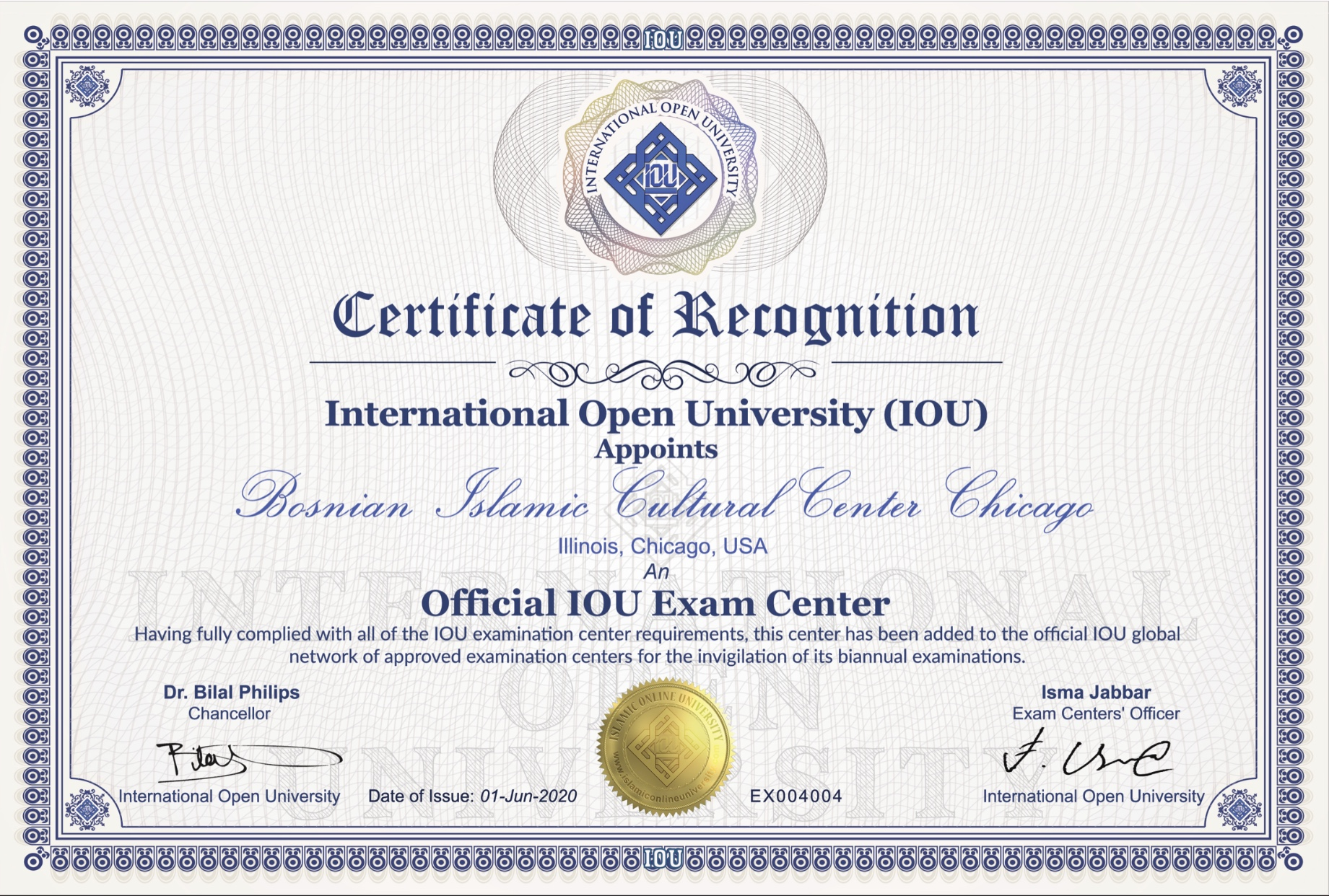 certificate recognition iou international bicc token appreciation exam approved grant wants university